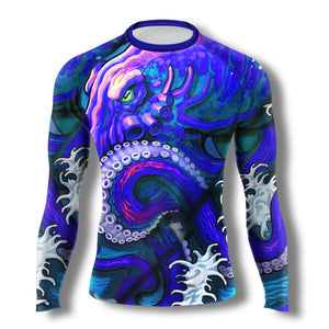 Neon Octopus Long Sleeve Rashguard - Zenko Fightwear