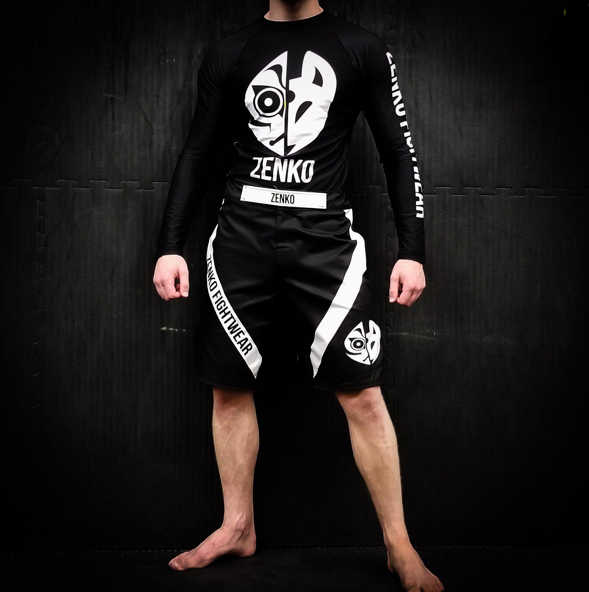 Zenko Fightwear Black Logo Fight Shorts