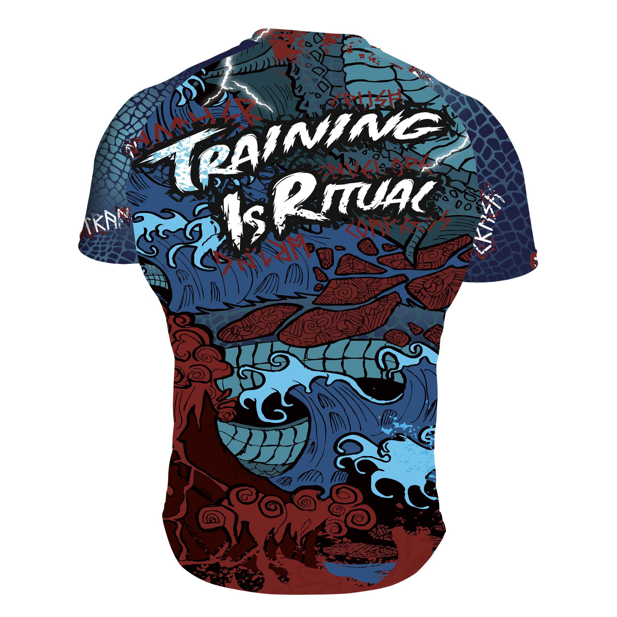 Training Is Ritual Jörmungandr Short Sleeve Rashguard Back - Zenko Fightwear