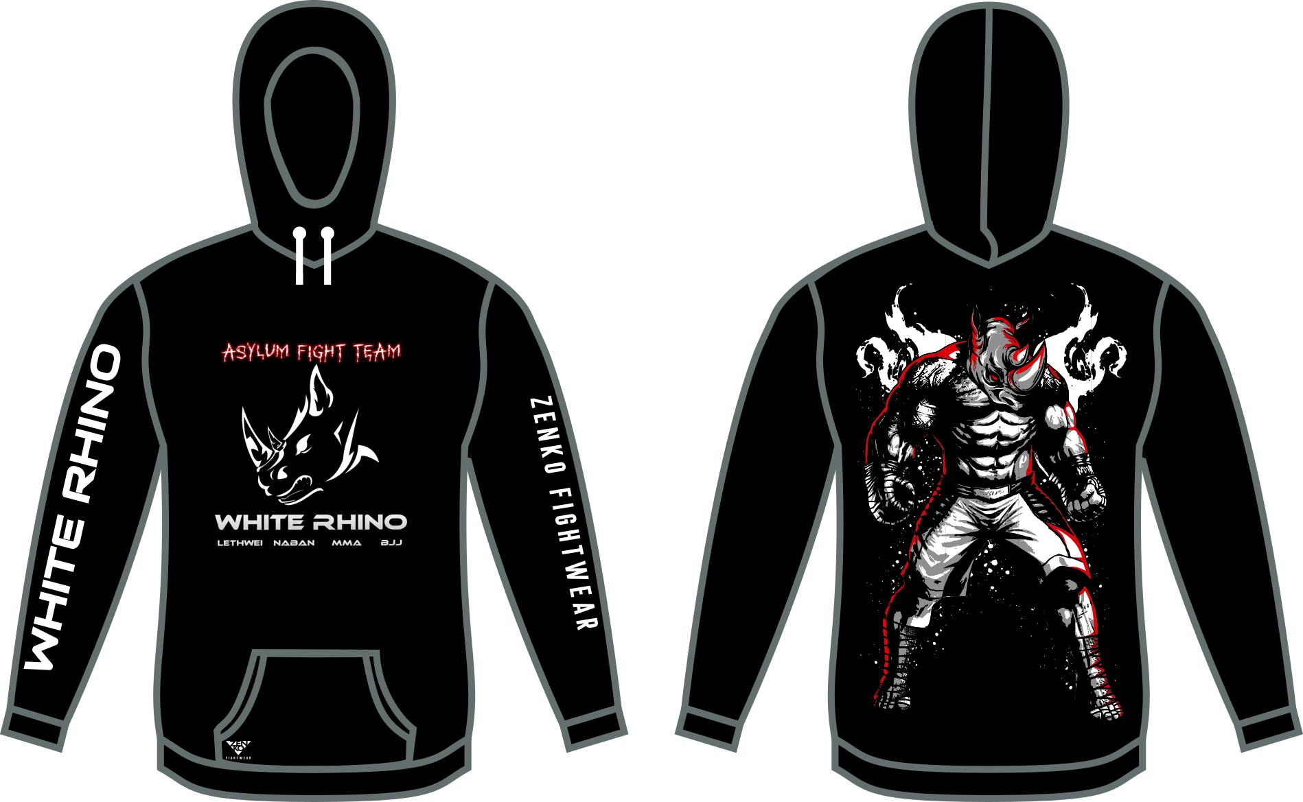 Asylum Fight Team - White Rhino Kickboxing Rhino Pullover Hoodie - Zenko Fightwear