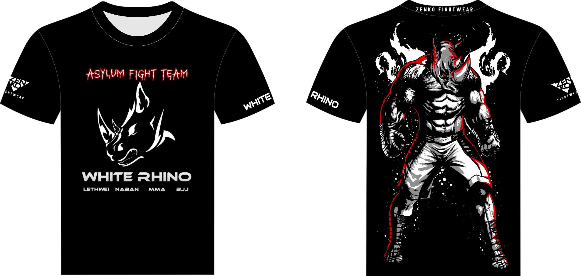 Asylum Fight Team - White Rhino Kickboxing Rhino Jersey Tee - Zenko Fightwear