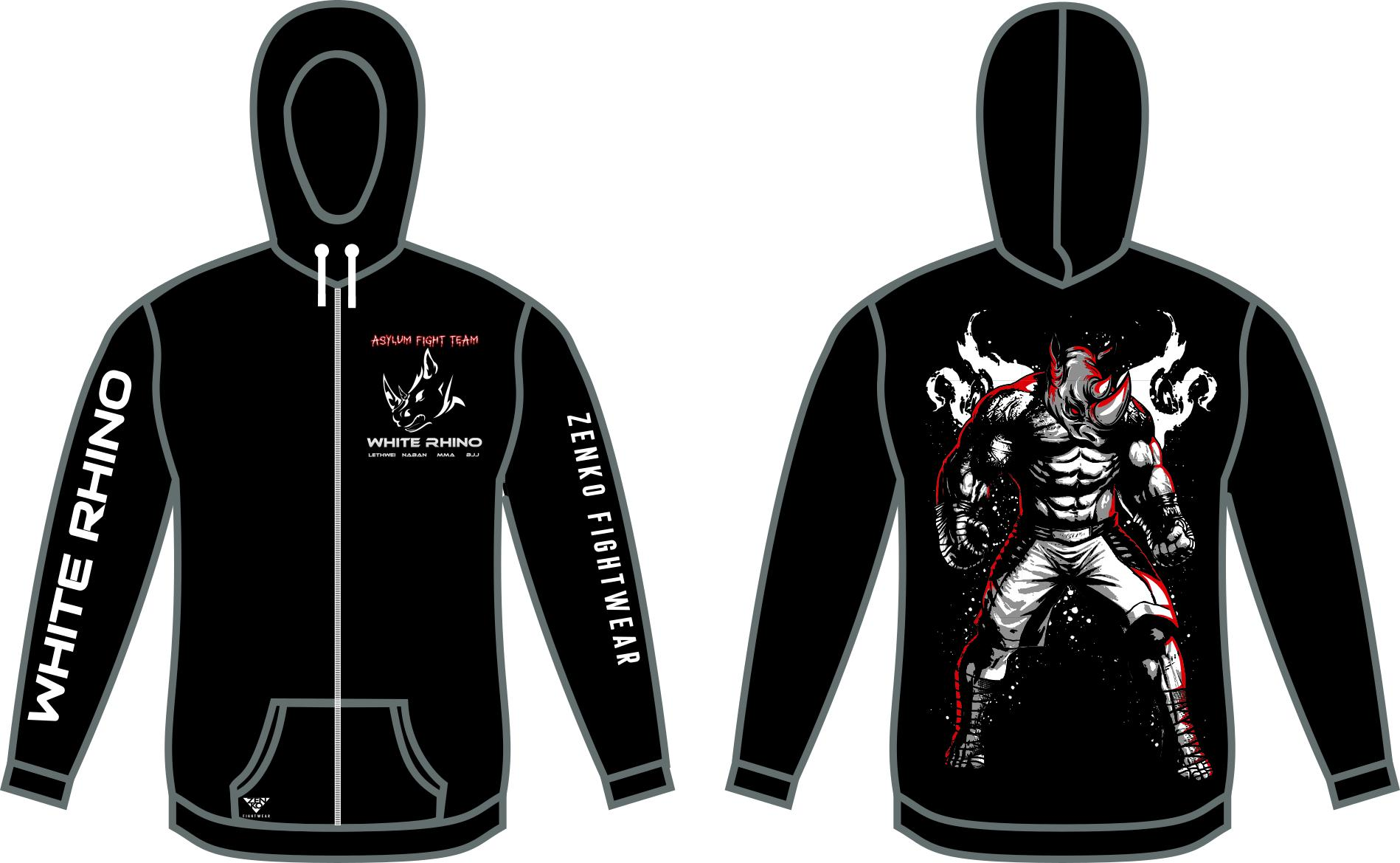 Asylum Fight Team - White Rhino Kickboxing Rhino Full-Zip Hoodie - Zenko Fightwear