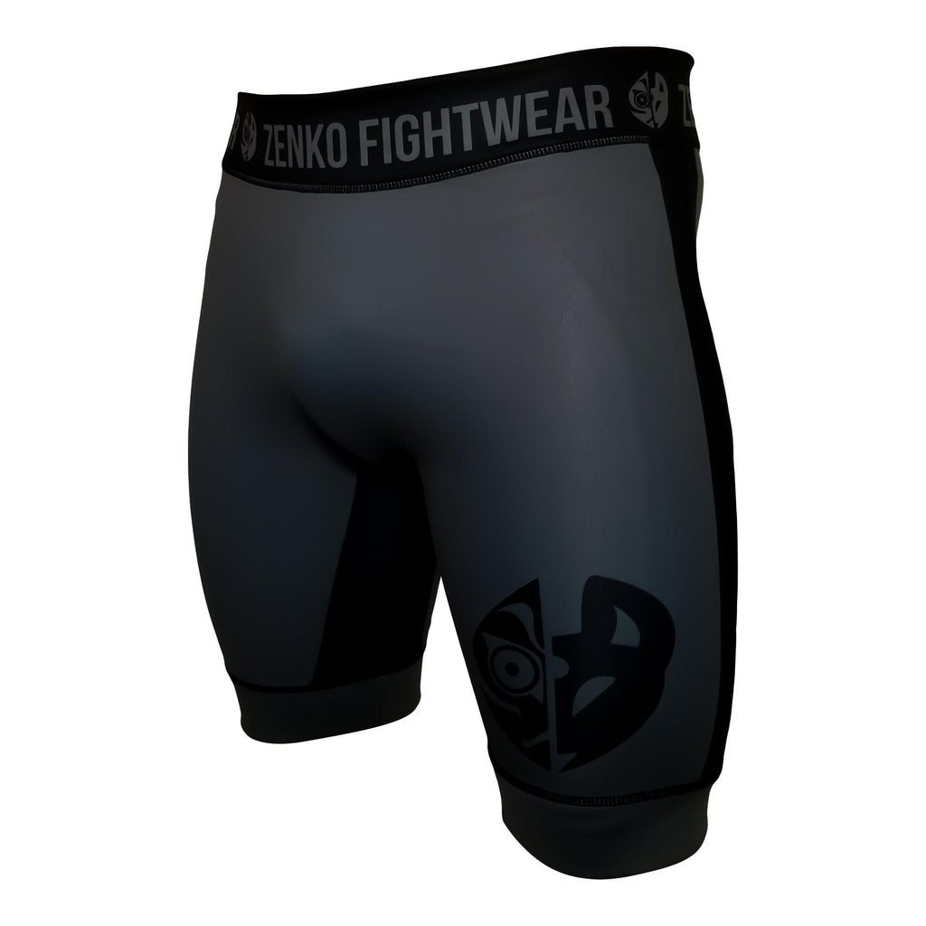 Zenko Fightwear Jet Gray Vale Tudo Compression Shorts Front