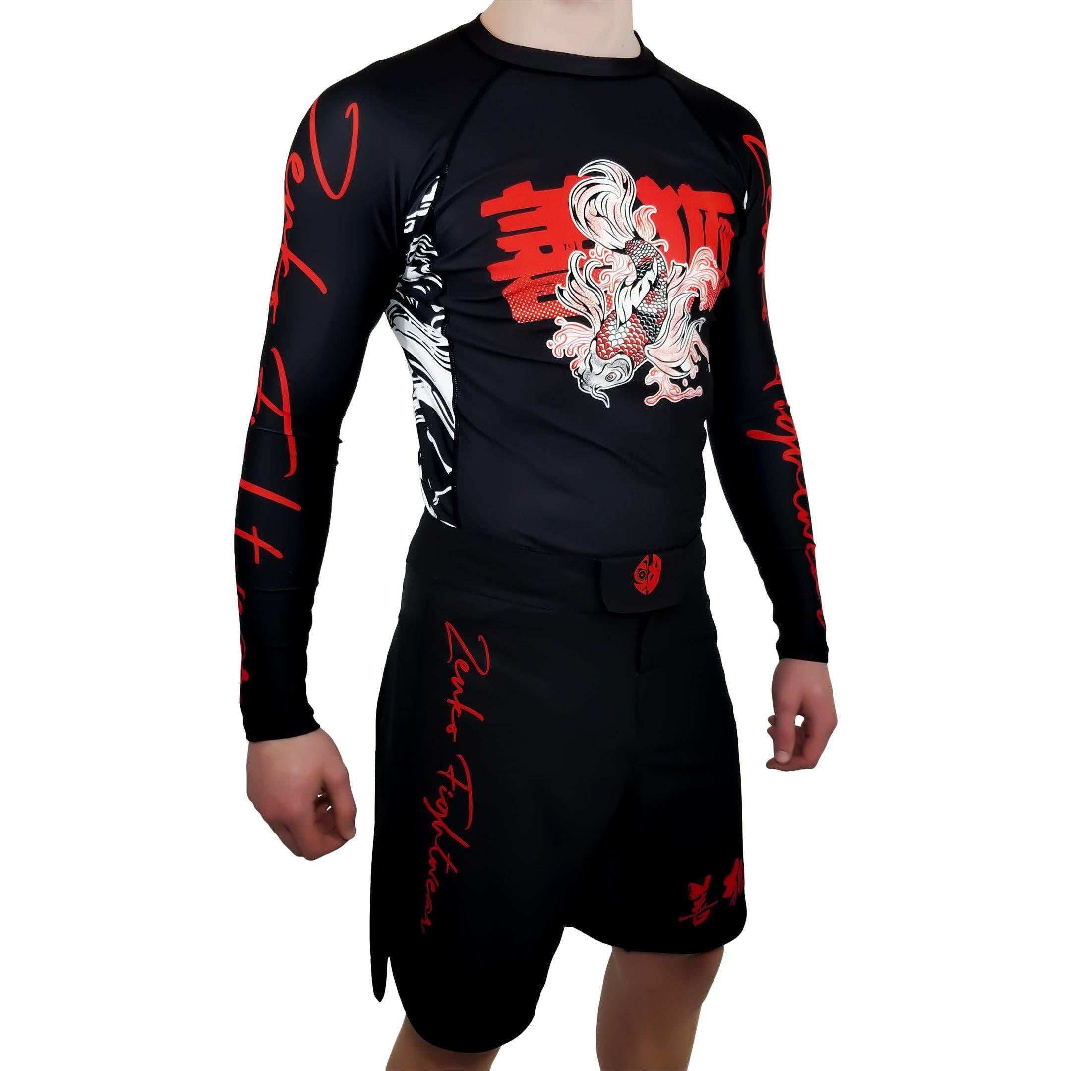 Zenko Fightwear Nihon Rashguard & Fight Shorts Front