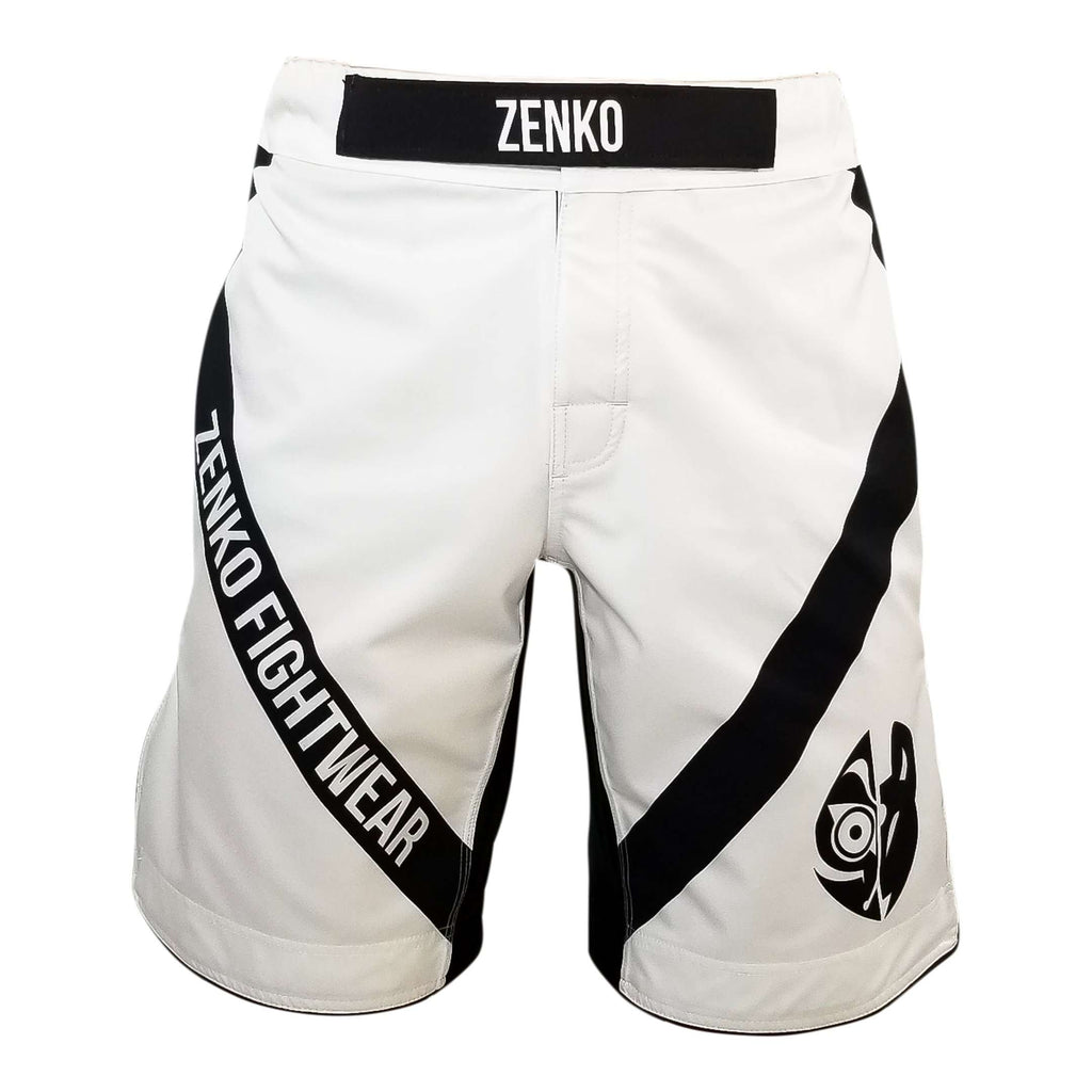 Zenko Fightwear White Logo Fight Shorts Front