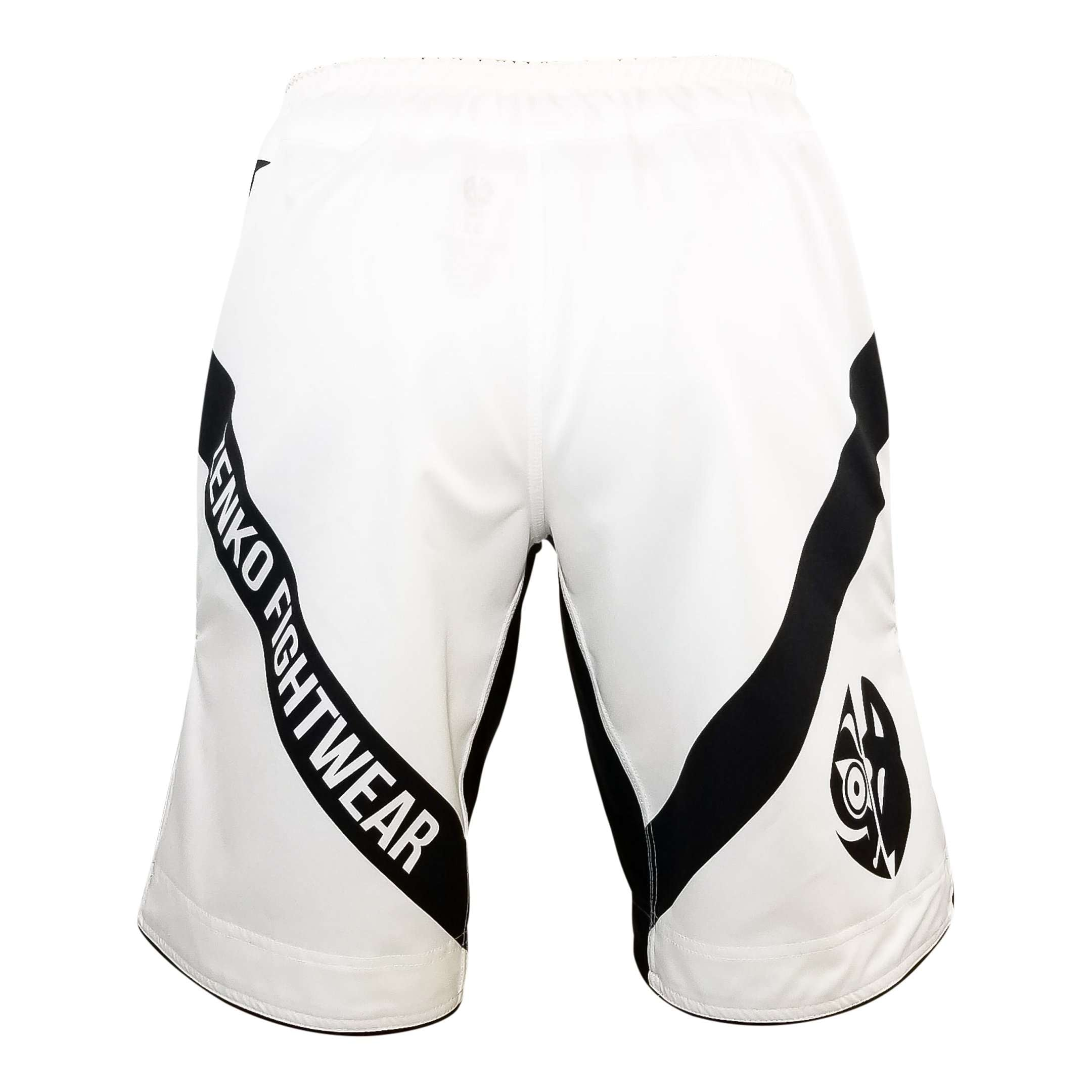 Zenko Fightwear White Logo Fight Shorts Back