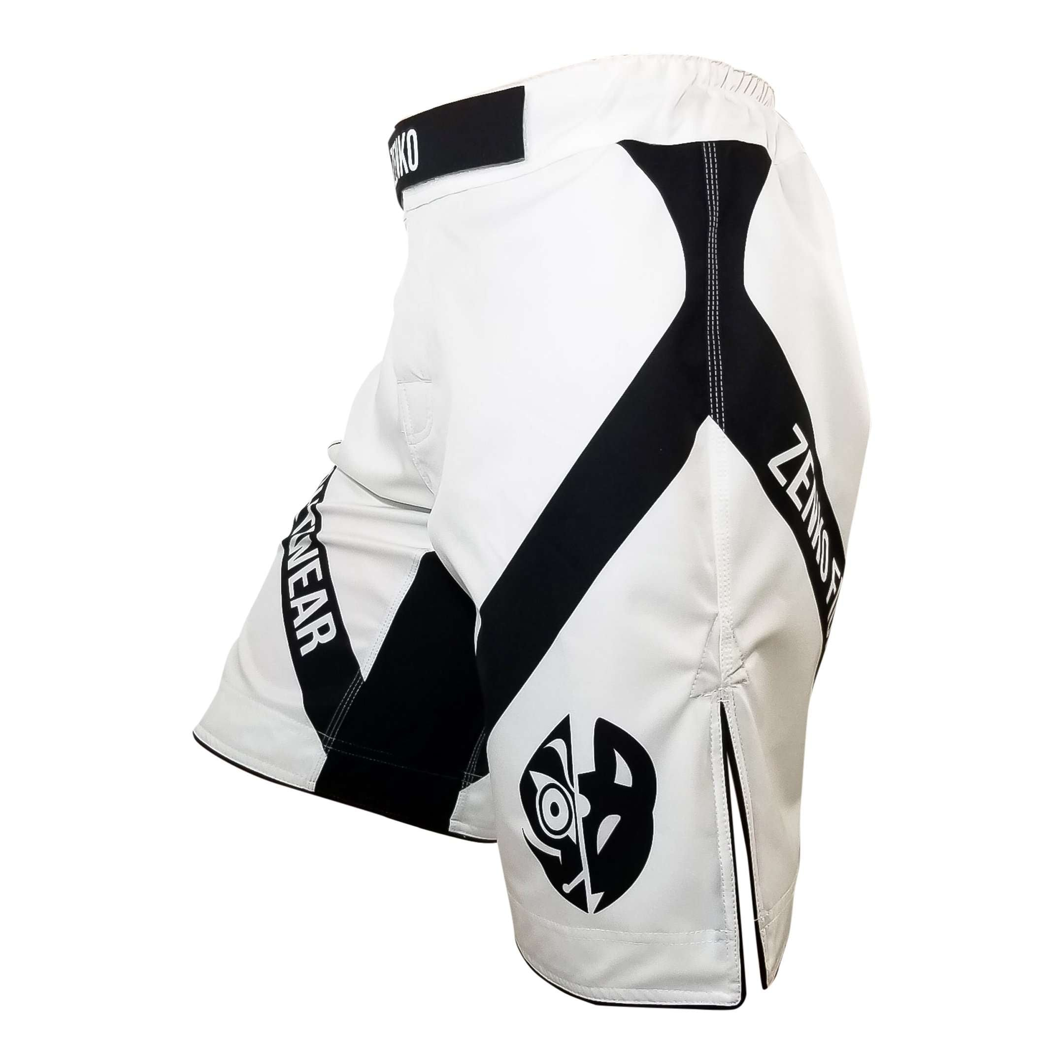 Zenko Fightwear White Logo Fight Shorts Side
