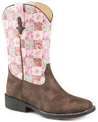 Kids Roper Floral Shine Boot