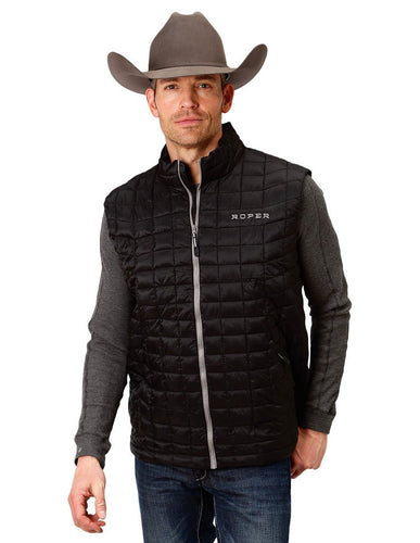 Mens Roper Puffer Down Vest - Black