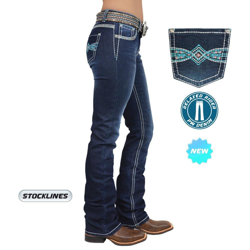 Womens Pure Western Indiana Relaxed Rider Jean 36 leg