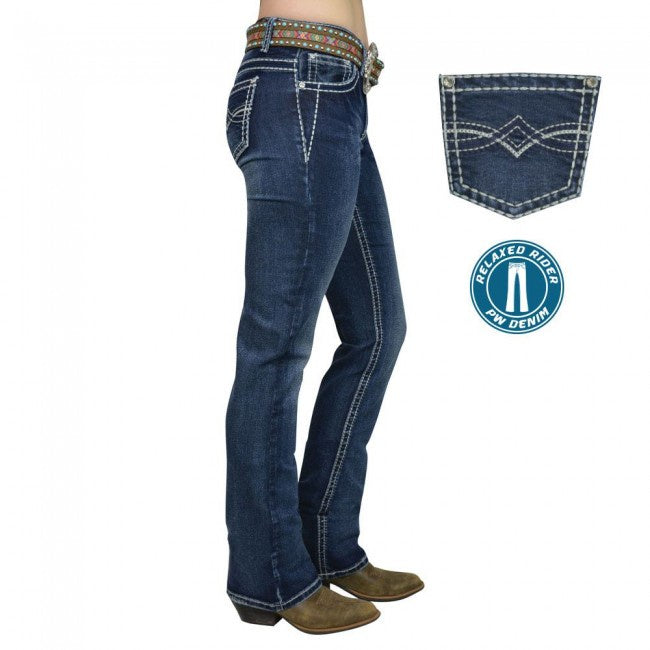 Womens Pure Western Dakota Relaxed Rider Jean 36 leg