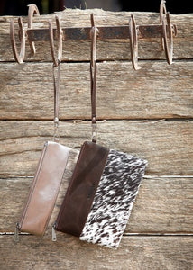Wrangler Cowhide Clutch Brown or Pewter