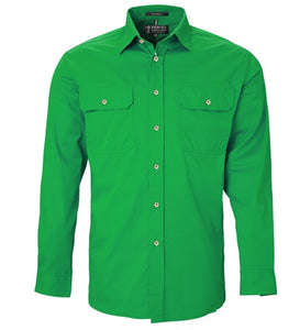 Mens Pilbara L/S Open Front Workshirt