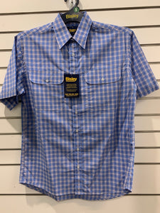 Mens Bisley S20 S/S Small Check Blue