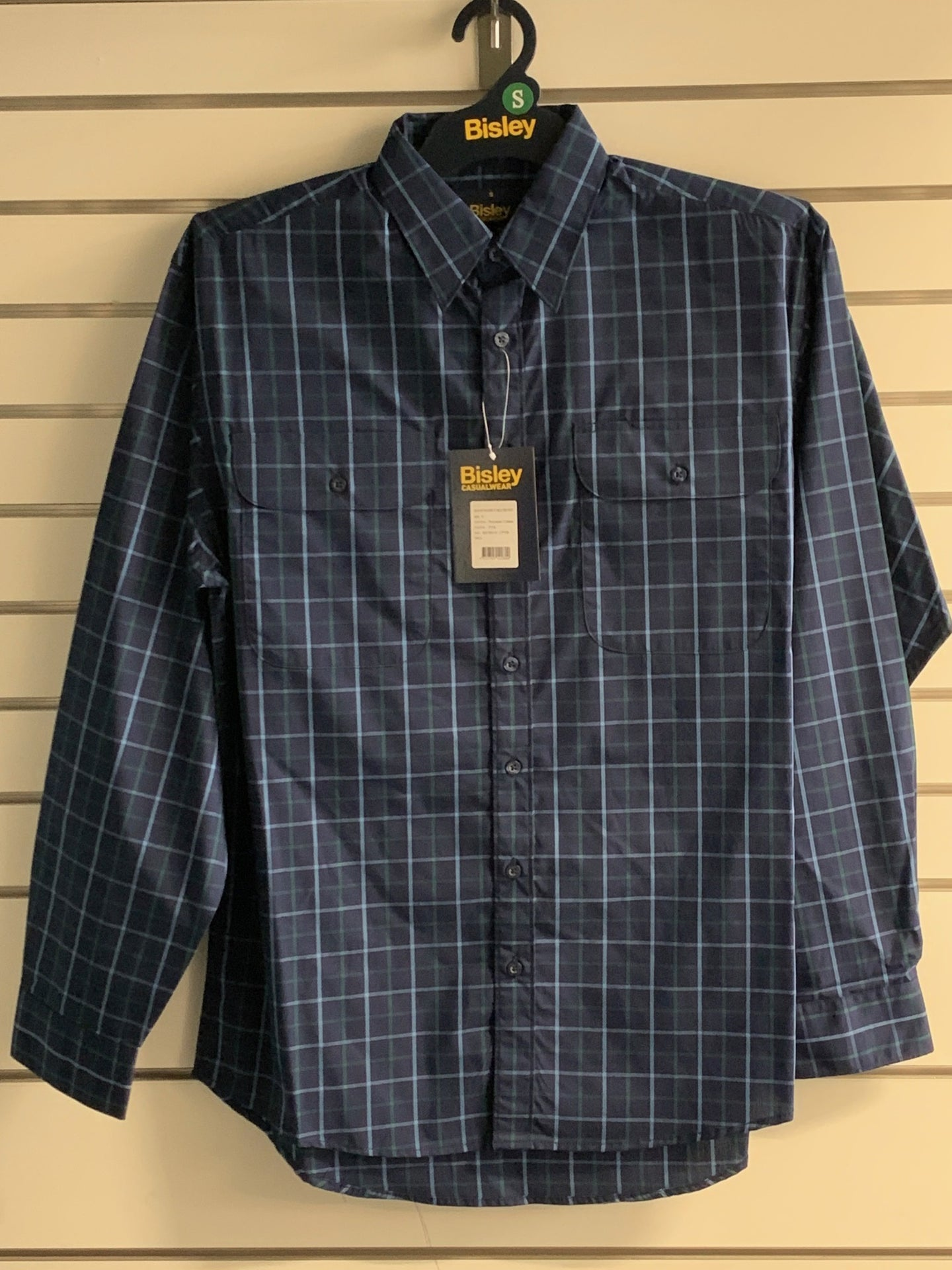 Mens Bisley L/S Shirt Med Check Navy MAR20