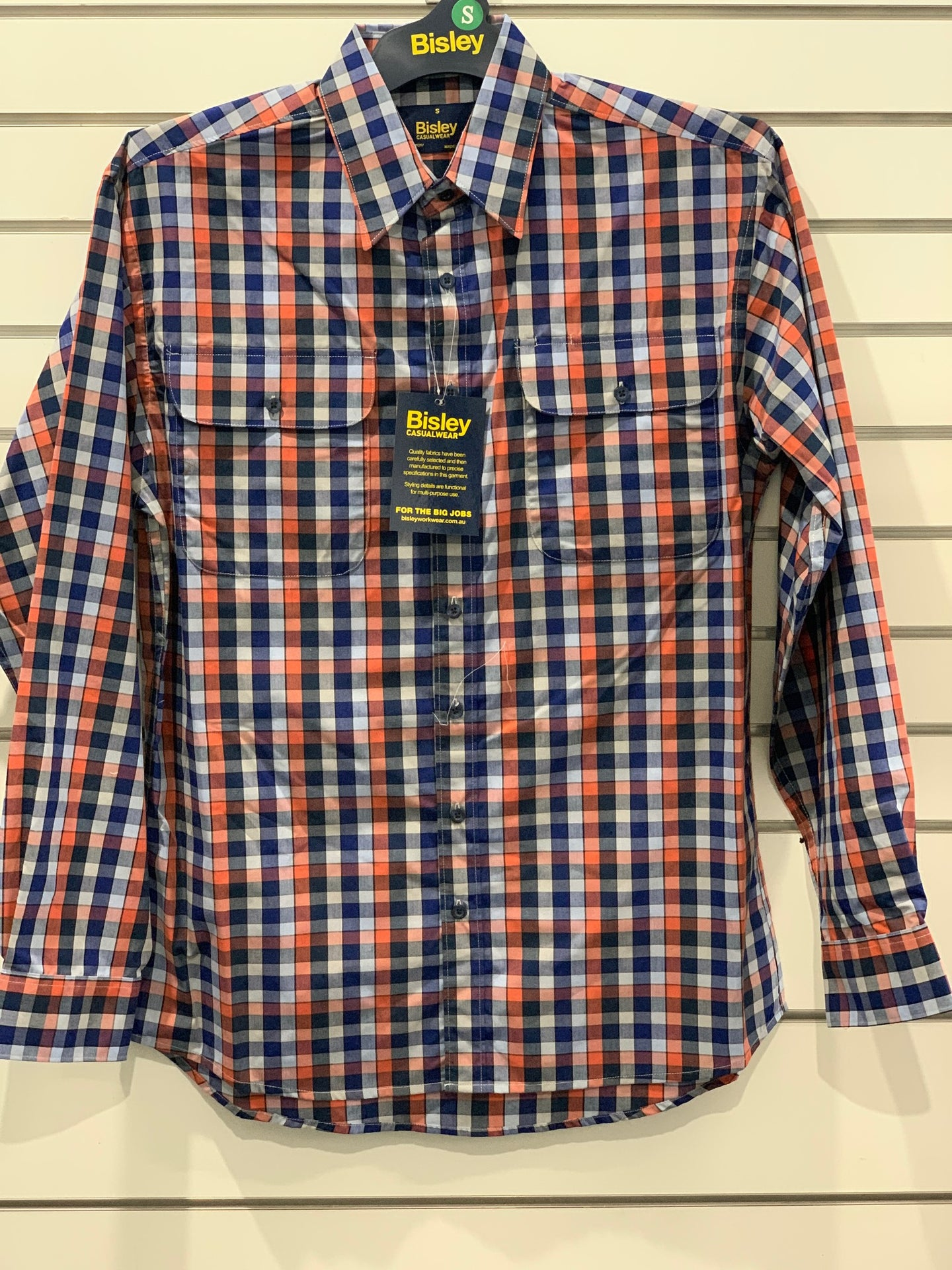 Mens Bisley Shirt Med Check Orange MAR20
