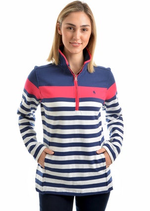 Womens Thomas Cook Abigail Stripe 1/4 Zip Neck Rugby