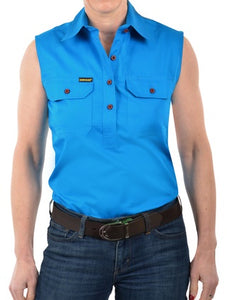 Womens Hard Slog Half Placket Light Cotton Sleeveless Workshirt