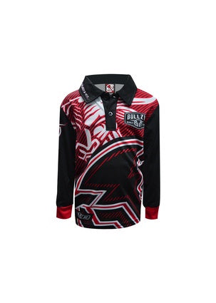 Boys Bullzye Charging Bull Fishing Shirt Red Button Neck S20