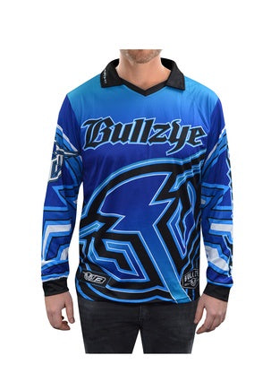 Mens Bullzye Bullring Fishing Shirt Blue V Neck S20