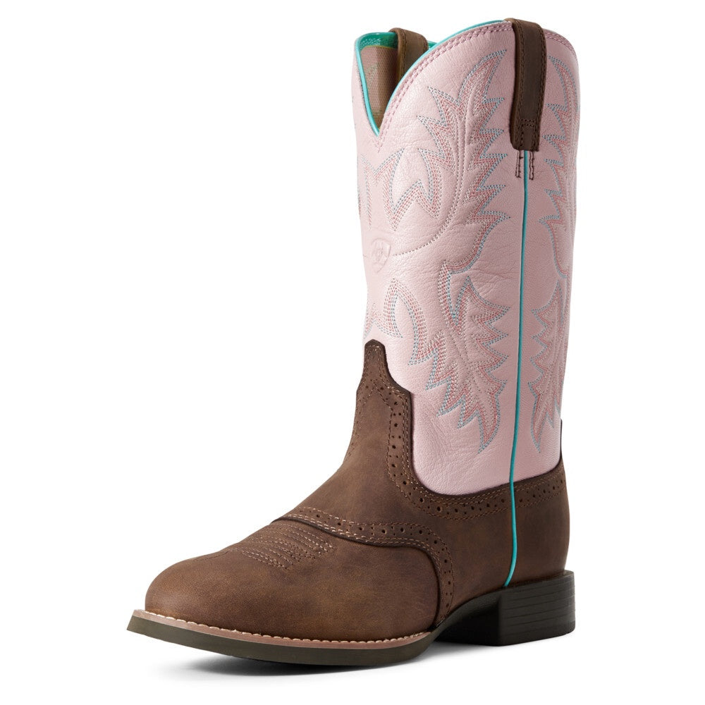 Womens Ariat Heritage Stockman Promo Driftwood Brown/ Pastel Pink C fit