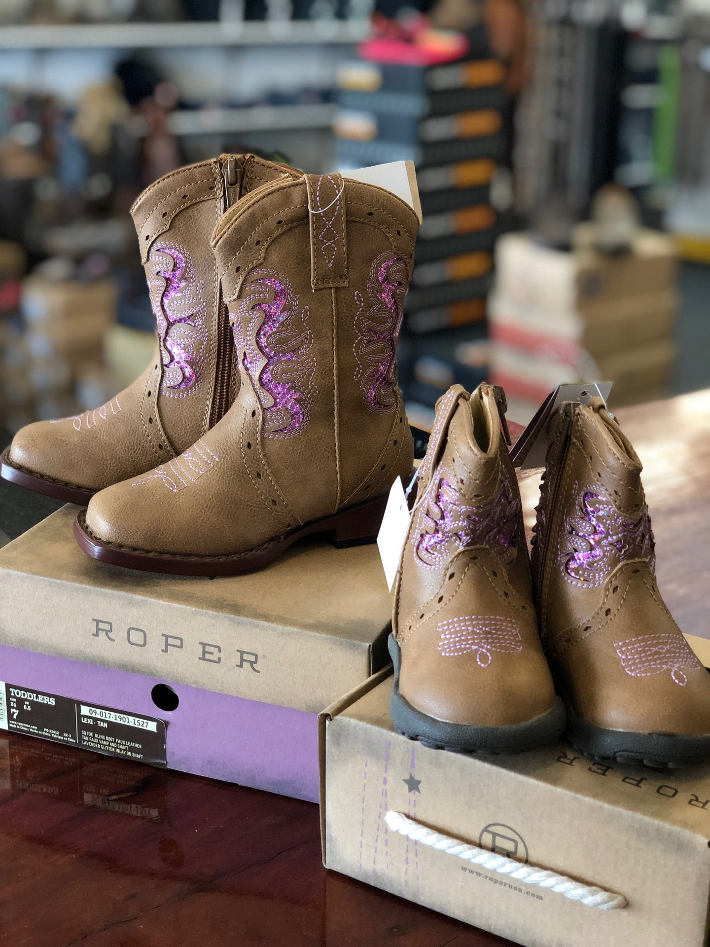Girls Roper Lexi Tan/Pink Sparkle Boots