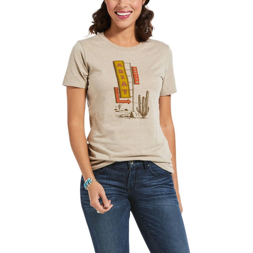 Womens Ariat Comfort Stay Tee- Oatmeal
