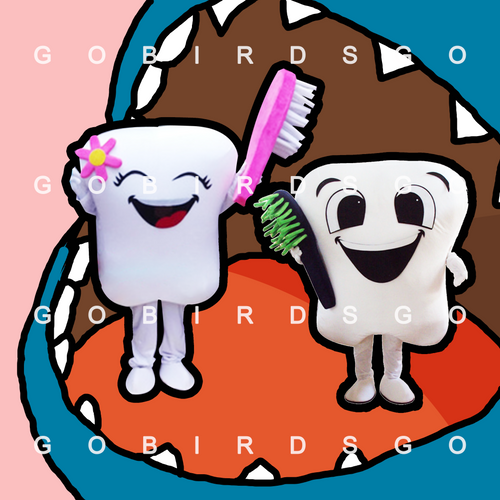 cute teeth with toothbrush cartoon costume mascot