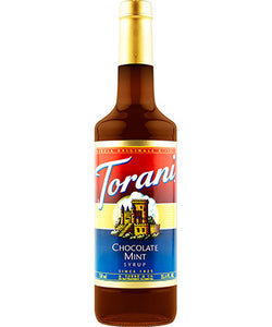 750ml Torani Chocolate Mint flavouring syrup bottle