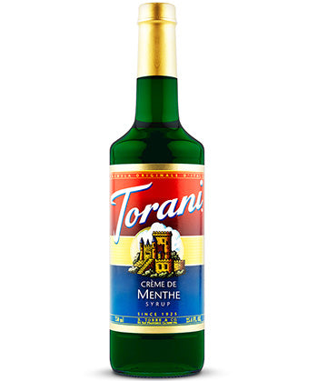 750ml Torani creme de menthe flavouring syrup bottle