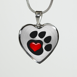 Cat Paw Heart Necklace and Bagle