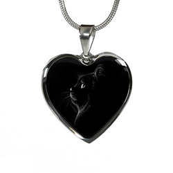 I Love Cats Elegant Heart Necklace & Bangle