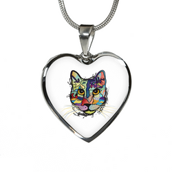 Work of Art Cat Heart Necklace & Bangle