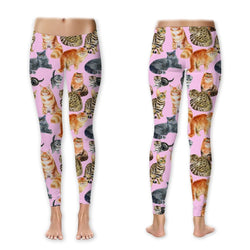Leggings - Pretty Kitties On Pink Leggings (Exclusive Design - $10 Off - Limited Time)
