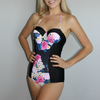 Beach Bound Swimwear Eve one piece floral with black side panels reinforced cups straps tie behind neck and back