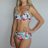 Beach Bound Swimwear Tropical Rainforest bikini set in tropical pattern. Bottoms are high waisted and cover the abdomen.