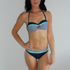 Beach Bound Swimwear Sailor Chic bikini set in navy and aqua. Padded top with clasp backing.