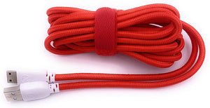 Xcivi Extra Long Nylon Braided Data and Charging Cord USB Charger Cable Cord for Fuhu Tablets Nabi DreamTab, nabi 2S, nabi Jr, Jr. S, XD, Elev-8, 10 FT/3m (Red)