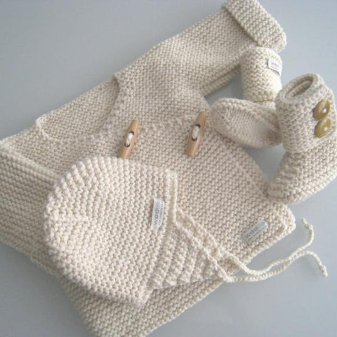 Natural merino knitted gift set double breasted jacket, hat and boots