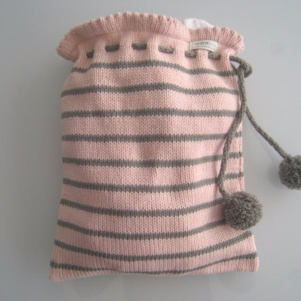 pink and mushroom stripe knitted baby bag