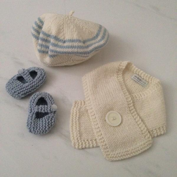 Knitted Baby Merino Beret Scarf Mary Jane Shoe Gift Set Blue