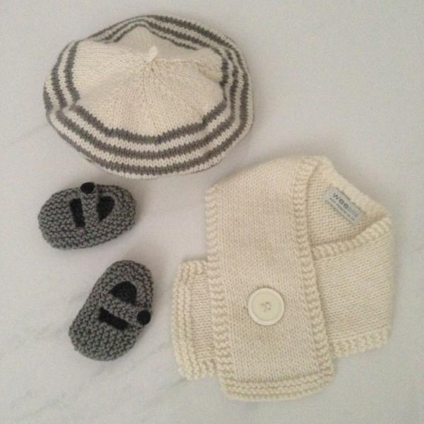 natural mushroom stripe beret, natural button scarf and mushroom MJ shoes gift set
