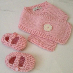Button Scarf Mary Jane Shoe Knitted Gift Set Pink