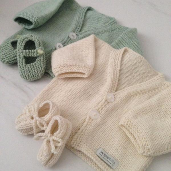 baby gift sets of natural baby cardigan and natural little loafers with mint cardigan and Mar Jane shoes