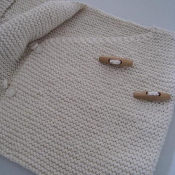 natural merino knitted double breasted baby jacket