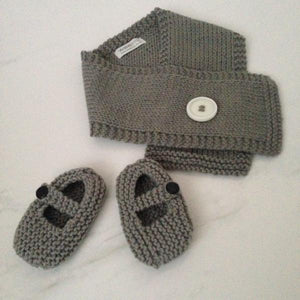 Button Scarf Mary Jane Shoe Knitted Gift Set Mushroom