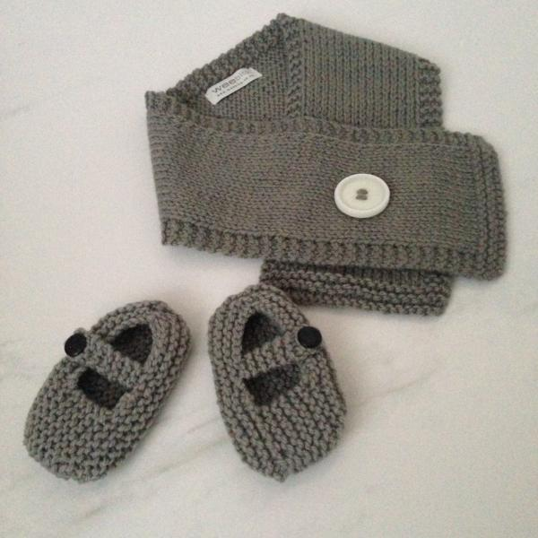Mushroom knitted merino Button Scarf and Mary Jane Shoes gift set