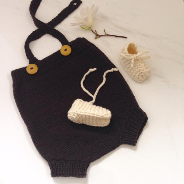 Chocolate baby rompers and natural merino chunky booties gift set