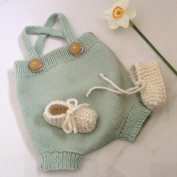 Mint rompers and natural merino chunky booties gift set