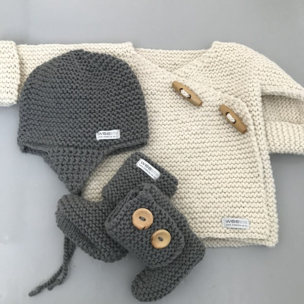 natural merino double breasted jacket with mushroom chunky knit hat and boots gift set